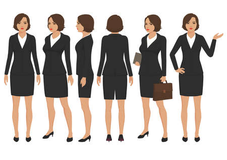 vector illustration of secretary woman cartoon character, front, back and side view of businesswoman.