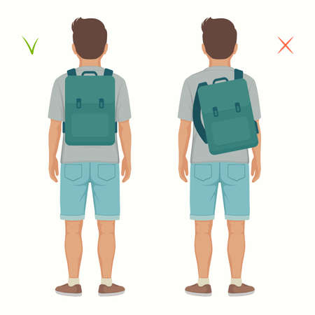 Vector illustration of good and wrong spine posture