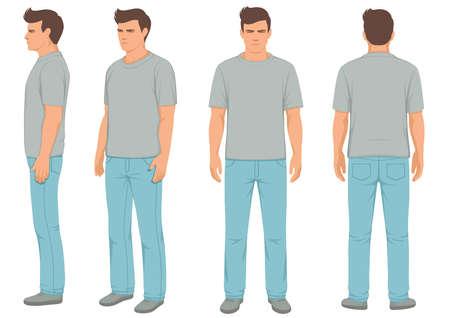 Geïsoleerde maniermens, voor, achter en zijaanzicht, vectorillustratie Vector Illustratie
