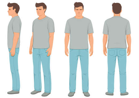 Fashion man isolated, front, back and side view, vector illustration Illustration