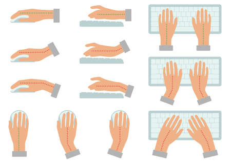 Vector illustration of correct and incorrect hand and keyboard