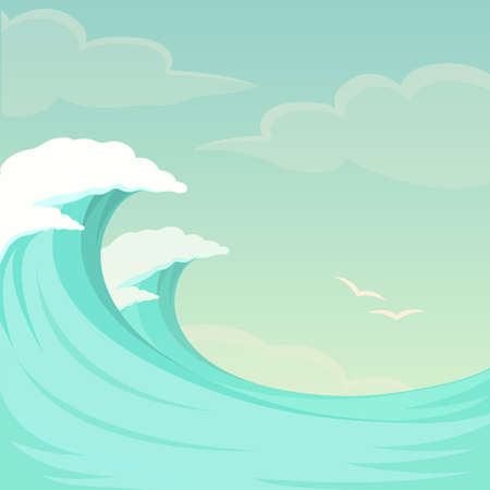 vector illustration of sea waves background, water and summer sky Çizim
