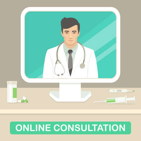vector illustration of medicine doctor, online medical consultation, health care service Stock Vector - 97559531