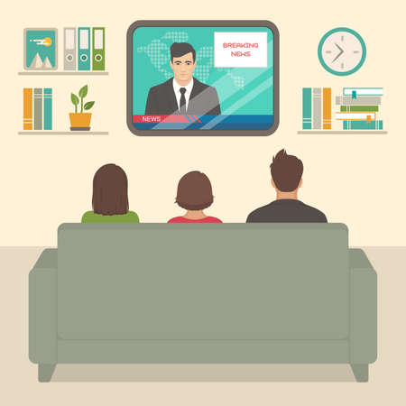 Illustration of family watching television. 일러스트