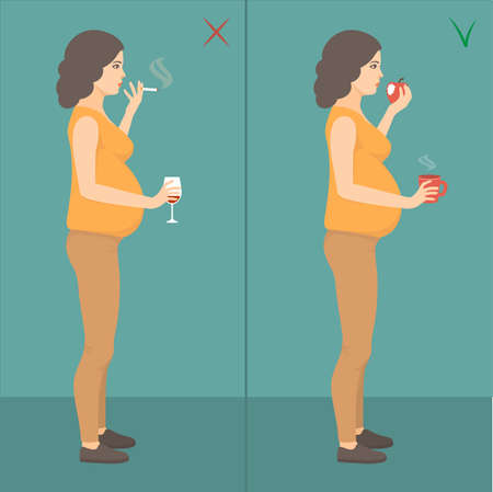 vector illustration of bad mother, pregnant woman smoking cigarette and drinking alcohol. healthy pregnancy lifestyle