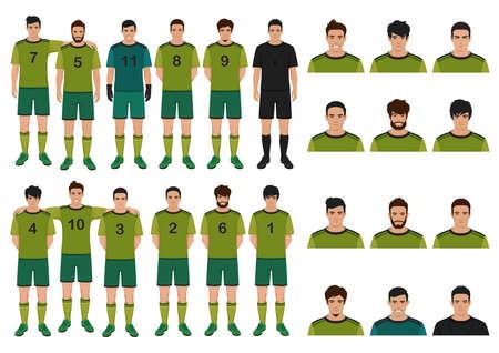 illustrazione vettoriale di giocatore di calcio, persone della squadra di calcio Vettoriali