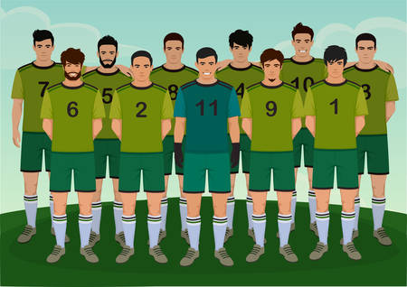 vector illustration of soccer player, football team people