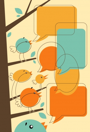 Vector illustration in retro-style - A few cute birds having a chat  Blank speech bubbles for your text  Vector