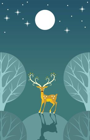 Stylized deer stands on a hill in the moonlight Vector