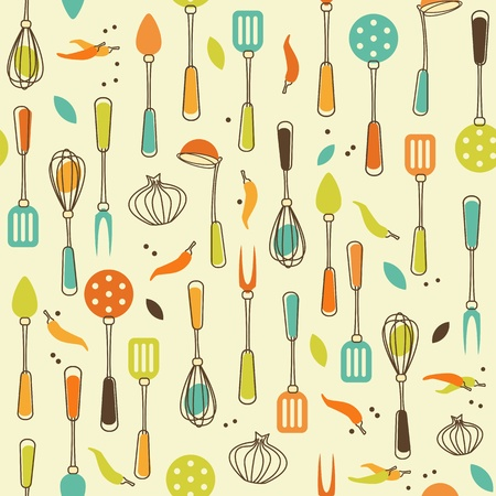 Seamless Pattern of Kitchen utensil in Retro-Styled Vector