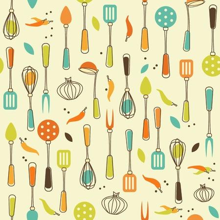 utensils: Seamless Pattern of Kitchen utensil in Retro-Styled