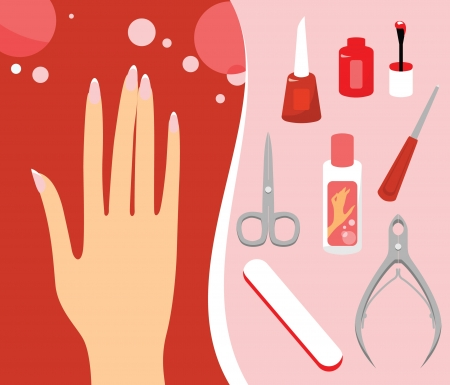 Woman hand and Personal nail styling set