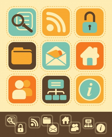 medium group of people: Internet network icons in vintage style