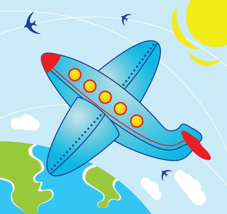airplane cartoon: Illustration in cartoon style - Airplane fly over the earth