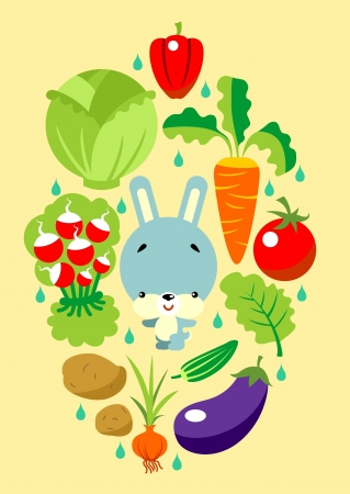 leaf lettuce: Cartoon vegetable set with cute little Bunny in center composition Illustration