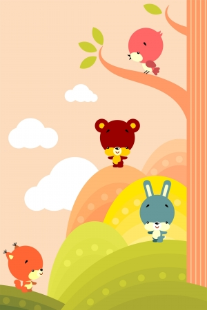 Group of little cute animals on a background of stylized landscape Vector