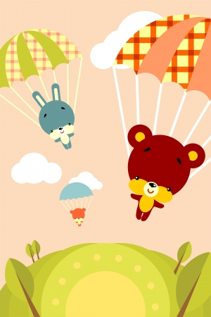 cloud shape: Group of little cute animals flying by parachutes Illustration
