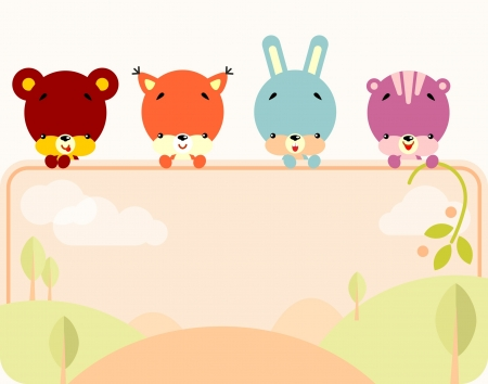 Group of little cute animals holding a blank sign for your message Vector