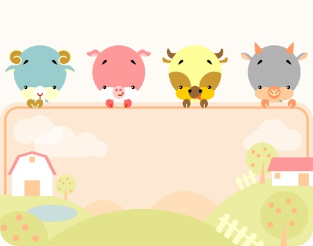 Group of little cute farm animals holding a blank sign for your message Vector