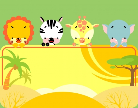 Group of little cute tropical animals holding a blank sign for your message Vector