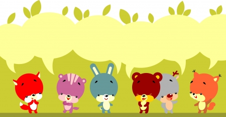 Group of little cute animals talking with bubbles to place text Vector