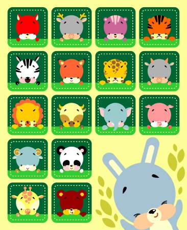 panda: Set of vector icons cute various animals