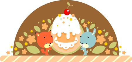 Retro-styled illustration  - cute little rabbit and squirrel holds in its paws big cake Vector