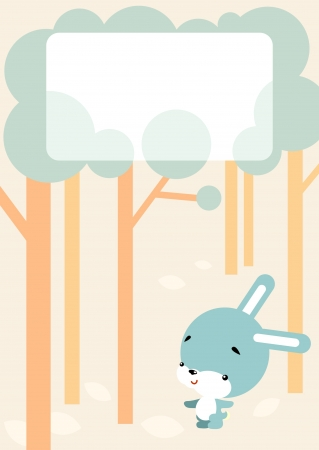 copse: Illustration of cartoon-style - little bunny walks in the woods and blank sign for your message Illustration
