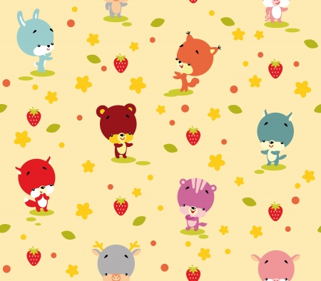 Seamless Pattern of Cute Animals and Plant Vector