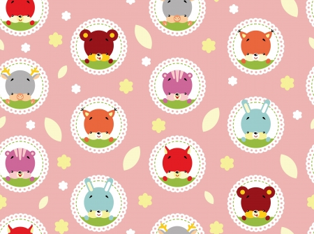 love cartoon: Seamless Pattern of Cute Animals and Plant