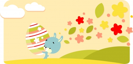 Bunny with easter painted egg in cartoon style Vector