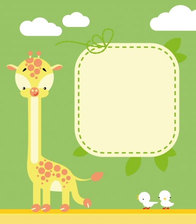 Cute giraffe and birds in cartoon style and blank sign for your message Ilustração