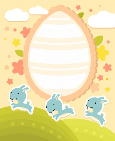 Frame with bunnies and easter egg in cartoon style