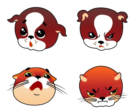 Cartoon faces of cat and dog with emotional expression Illustration