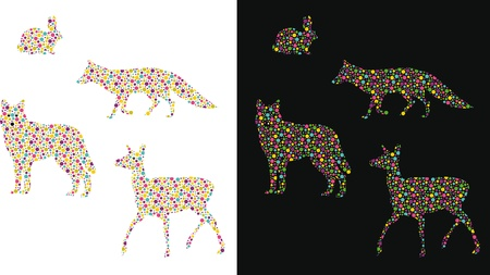 Silhouette of animal with colourful spotted pattern