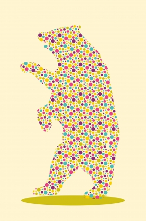 Silhouette of bear with colourful spotted pattern  イラスト・ベクター素材