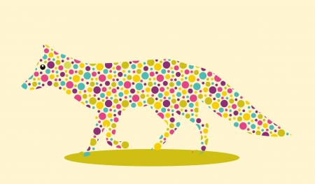 one animal: Silhouette of fox with colourful spotted pattern Illustration