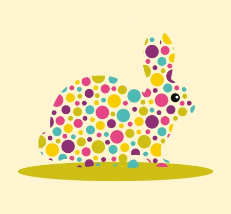 Silhouette of rabbit with colourful spotted pattern Stock Vector - 20169814