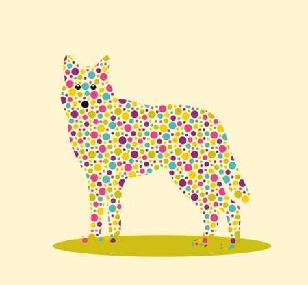 Silhouette of wolf with colourful spotted pattern Stock Vector - 20161756
