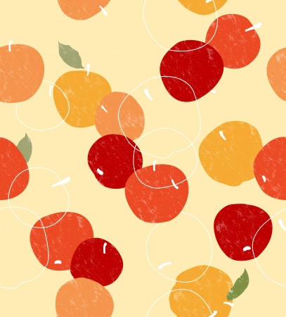orchard fruit: Retro seamless pattern with apple  Illustration