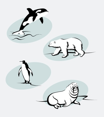 Collection of north animals in outline style Vector