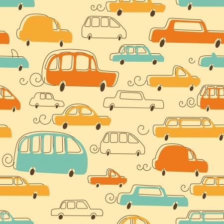 Seamless Pattern of Cartoon Cars Stock Vector - 20169970