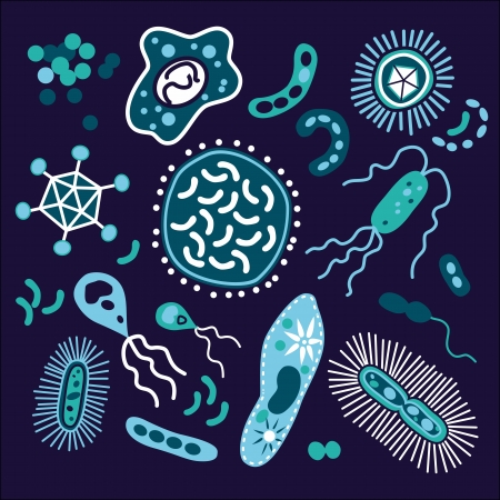 Set of bacterium and microorganism Vector