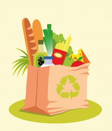 reusable: Reusable Grocery Bag with Healthy Food Illustration