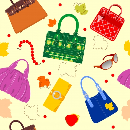 Seamless pattern of handbags and accessories Vector