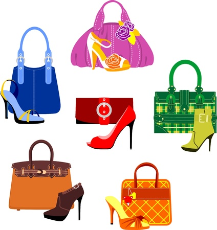 purses: Set of bags and shoes in glamour style Illustration