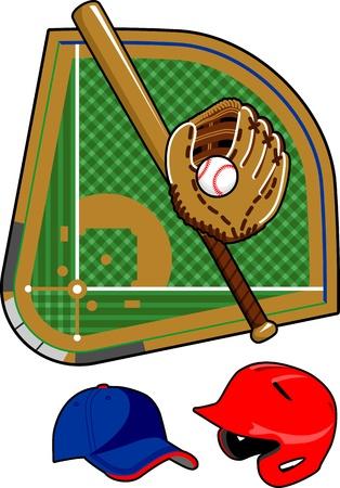 baseball diamond: Set of baseball equipment Illustration