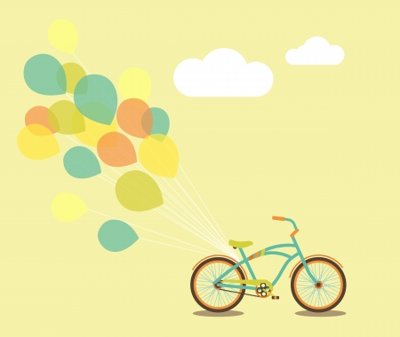 Bicycle with balloons and space for your greeting Vector