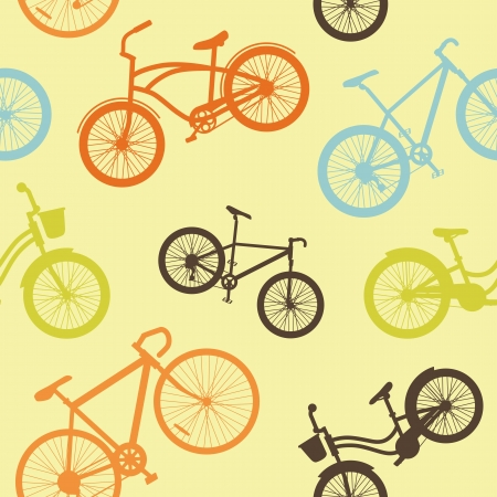 Seamless background of bikes Vector