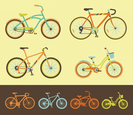Variations of different style bicycles Vector